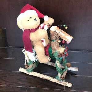 Christmas Decor Teddy bear Rocking horse
